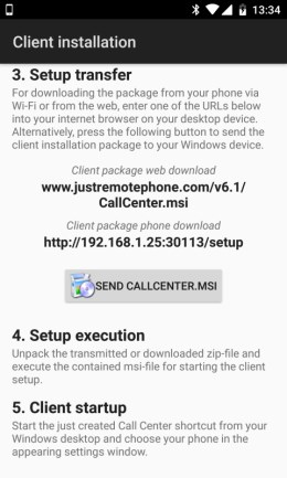 Remote Phone - Client installation